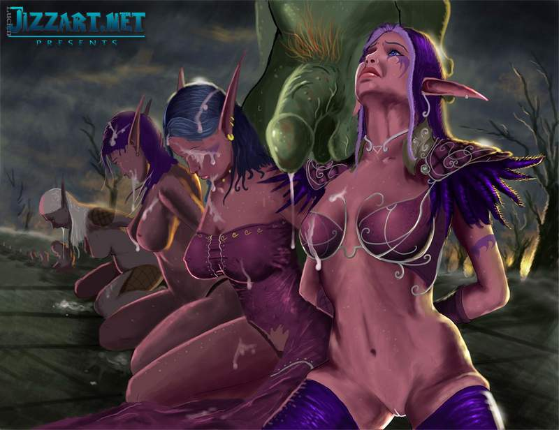 nude blood elf is taking sexy position
