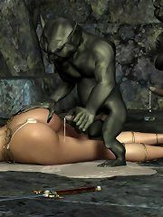 Elf fucked by orc